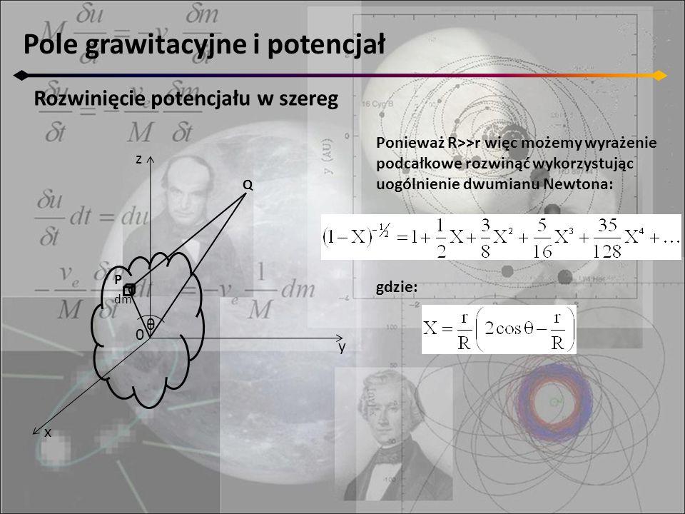 Pole grawitacyjne i potencjał Rozwinięcie potencjału w szereg Ponieważ R>>r więc możemy wyrażenie podcałkowe rozwinąć wykorzystując uogólnienie dwumianu Newtona: gdzie: z y x 0 P dm θ Q