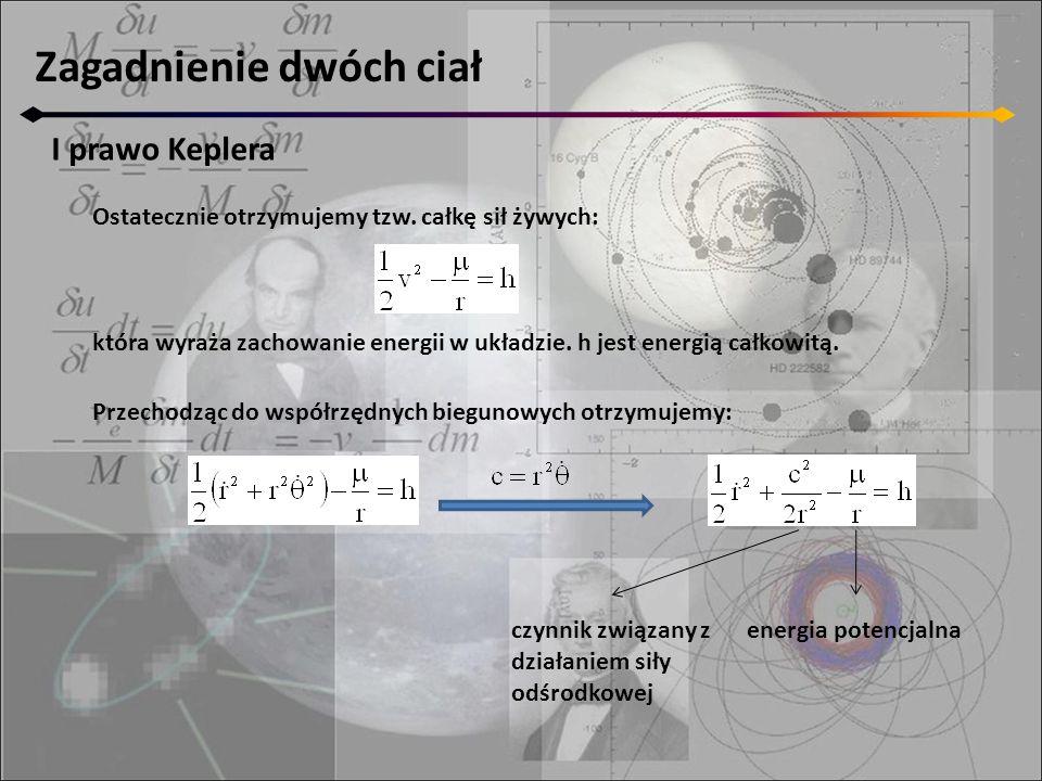 Zagadnienie dwóch ciał I prawo Keplera Ostatecznie otrzymujemy tzw.