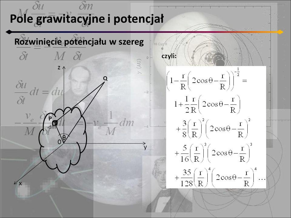 Pole grawitacyjne i potencjał Rozwinięcie potencjału w szereg czyli: z y x 0 P dm θ Q