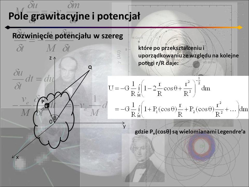 Pole grawitacyjne i potencjał Rozwinięcie potencjału w szereg które po przekształceniu i uporządkowaniu ze względu na kolejne potęgi r/R daje: gdzie P n (cosθ) są wielomianami Legendre'a z y x 0 P dm θ Q