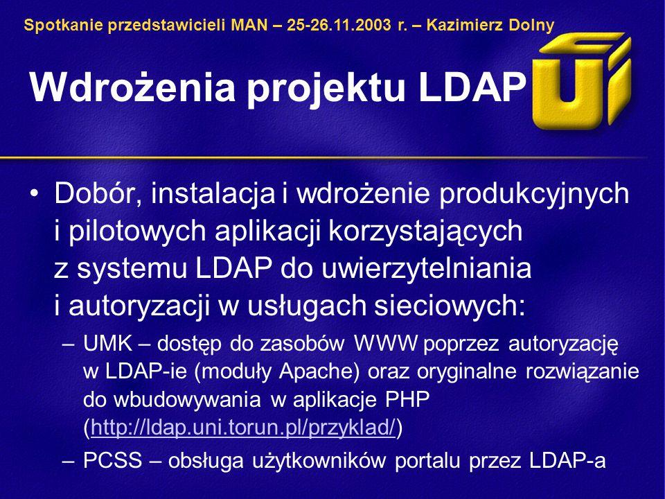 Wdrożenia projektu LDAP Dobór, instalacja i wdrożenie produkcyjnych i pilotowych aplikacji korzystających z systemu LDAP do uwierzytelniania i autoryzacji w usługach sieciowych: –UMK – dostęp do zasobów WWW poprzez autoryzację w LDAP-ie (moduły Apache) oraz oryginalne rozwiązanie do wbudowywania w aplikacje PHP (http://ldap.uni.torun.pl/przyklad/)http://ldap.uni.torun.pl/przyklad/ –PCSS – obsługa użytkowników portalu przez LDAP-a Spotkanie przedstawicieli MAN – 25-26.11.2003 r.