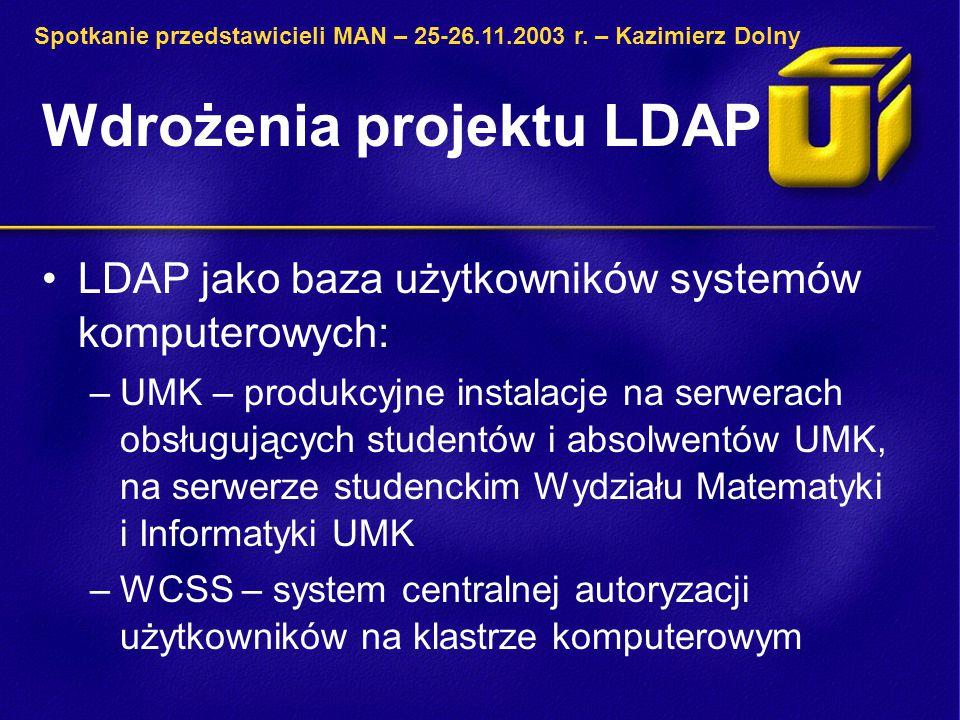Wdrożenia projektu LDAP LDAP jako baza użytkowników systemów komputerowych: –UMK – produkcyjne instalacje na serwerach obsługujących studentów i absolwentów UMK, na serwerze studenckim Wydziału Matematyki i Informatyki UMK –WCSS – system centralnej autoryzacji użytkowników na klastrze komputerowym Spotkanie przedstawicieli MAN – 25-26.11.2003 r.