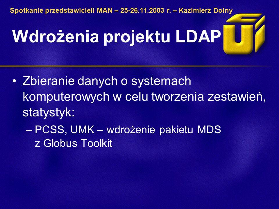 Wdrożenia projektu LDAP Zbieranie danych o systemach komputerowych w celu tworzenia zestawień, statystyk: –PCSS, UMK – wdrożenie pakietu MDS z Globus Toolkit Spotkanie przedstawicieli MAN – 25-26.11.2003 r.