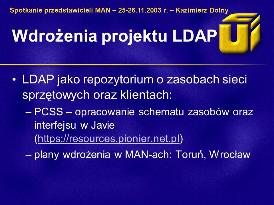 Wdrożenia projektu LDAP LDAP jako repozytorium o zasobach sieci sprzętowych oraz klientach: –PCSS – opracowanie schematu zasobów oraz interfejsu w Jav