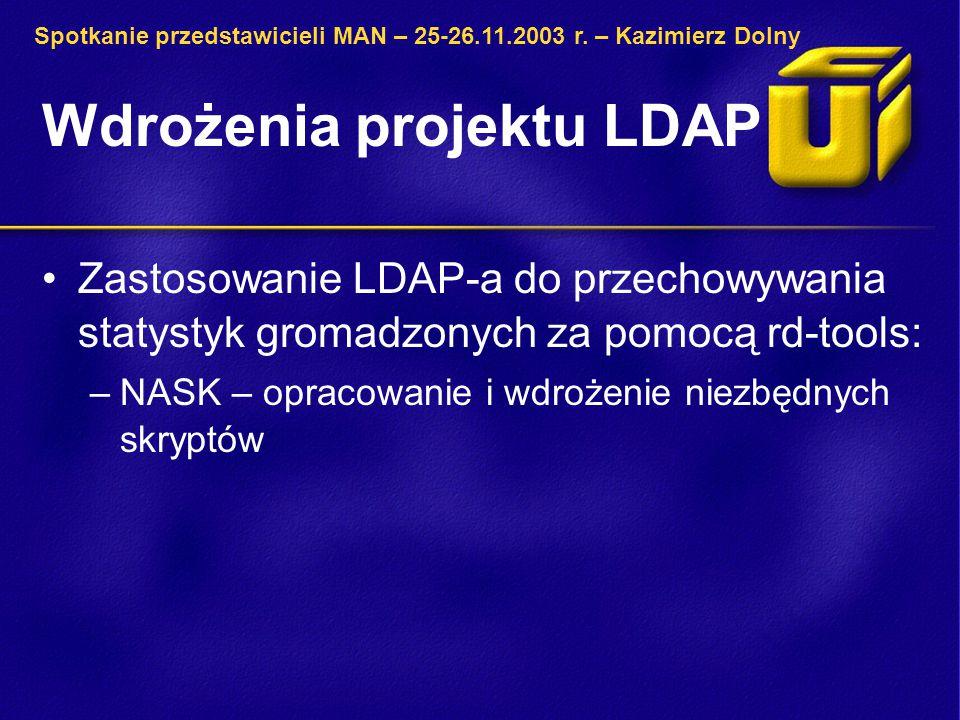 Wdrożenia projektu LDAP Zastosowanie LDAP-a do przechowywania statystyk gromadzonych za pomocą rd-tools: –NASK – opracowanie i wdrożenie niezbędnych skryptów Spotkanie przedstawicieli MAN – 25-26.11.2003 r.