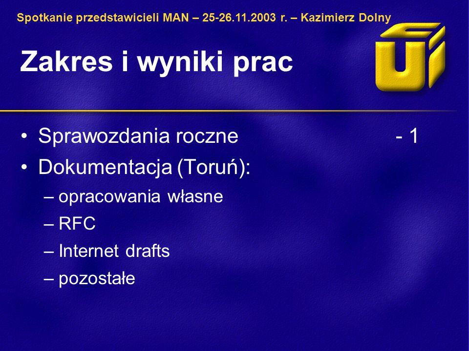 Zakres i wyniki prac Sprawozdania roczne- 1 Dokumentacja (Toruń): –opracowania własne –RFC –Internet drafts –pozostałe Spotkanie przedstawicieli MAN –