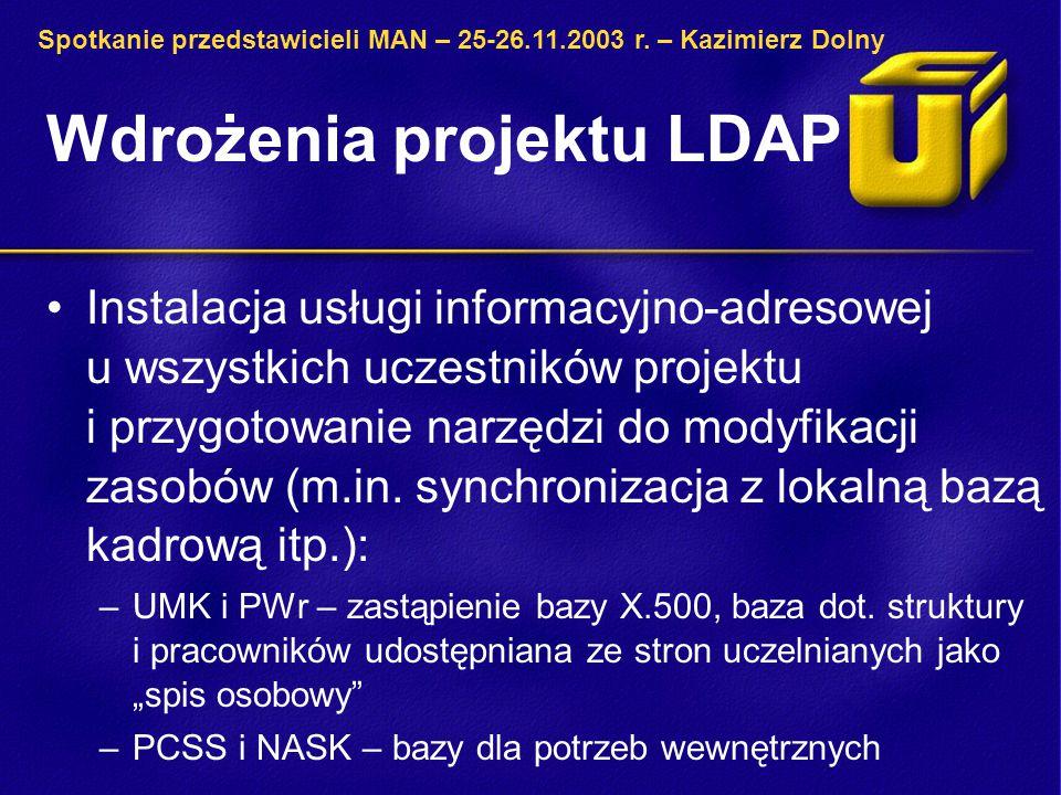 Wdrożenia projektu LDAP Wykorzystanie LDAP-a do przechowywania profili użytkowników w bibliotecznym katalogu rozproszonym KaRo: –UMK – opracowanie schematu i wbudowanie obsługi w interfejs (system w fazie zaawansowanego testowania, http://karo.umk.pl/Karo/) http://karo.umk.pl/Karo/ Spotkanie przedstawicieli MAN – 25-26.11.2003 r.