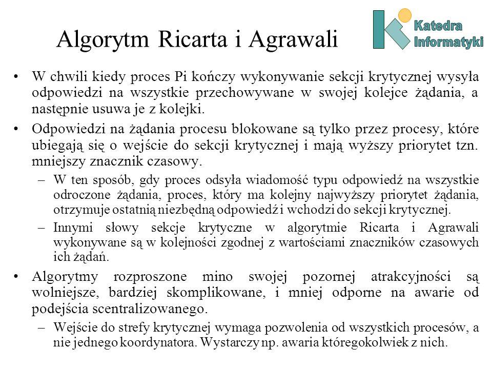 Algorytm Ricarta i Agrawali W chwili kiedy proces Pi kończy wykonywanie sekcji krytycznej wysyła odpowiedzi na wszystkie przechowywane w swojej kolejce żądania, a następnie usuwa je z kolejki.