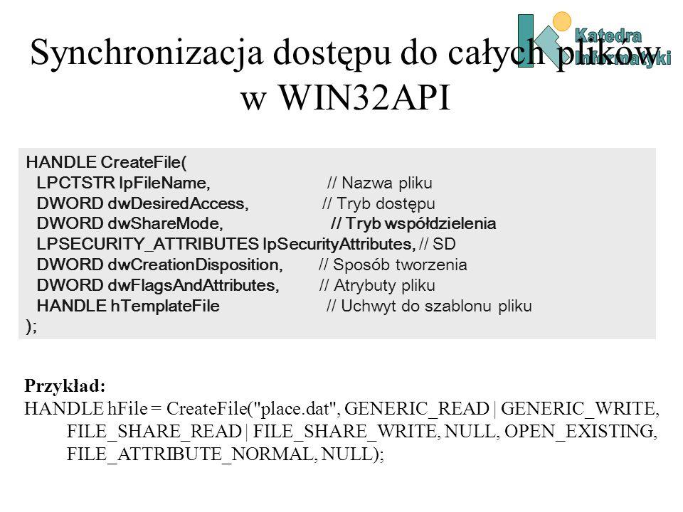 Synchronizacja dostępu do całych plików w WIN32API HANDLE CreateFile( LPCTSTR lpFileName, // Nazwa pliku DWORD dwDesiredAccess, // Tryb dostępu DWORD dwShareMode, // Tryb współdzielenia LPSECURITY_ATTRIBUTES lpSecurityAttributes, // SD DWORD dwCreationDisposition, // Sposób tworzenia DWORD dwFlagsAndAttributes, // Atrybuty pliku HANDLE hTemplateFile // Uchwyt do szablonu pliku ); Przykład: HANDLE hFile = CreateFile( place.dat , GENERIC_READ | GENERIC_WRITE, FILE_SHARE_READ | FILE_SHARE_WRITE, NULL, OPEN_EXISTING, FILE_ATTRIBUTE_NORMAL, NULL);