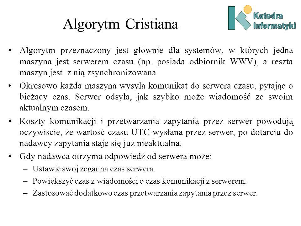 Algorytm Cristiana Algorytm przeznaczony jest głównie dla systemów, w których jedna maszyna jest serwerem czasu (np.