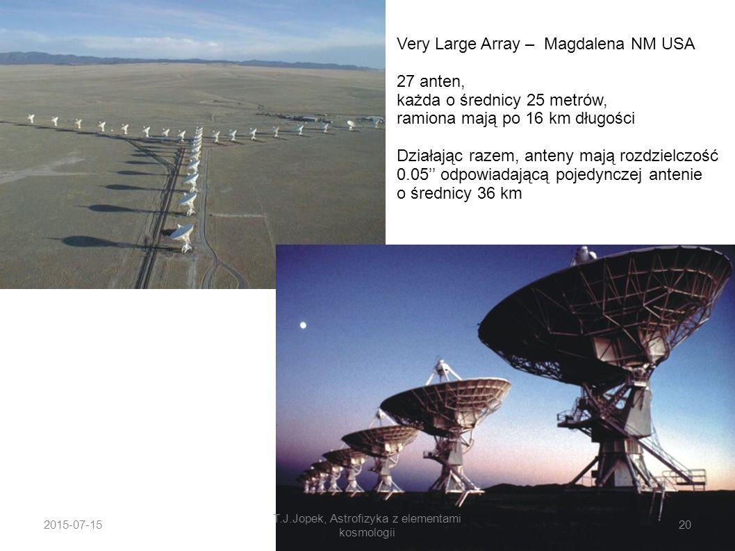 Very Large Array – Magdalena NM USA 27 anten, każda o średnicy 25 metrów, ramiona mają po 16 km długości Działając razem, anteny mają rozdzielczość 0.