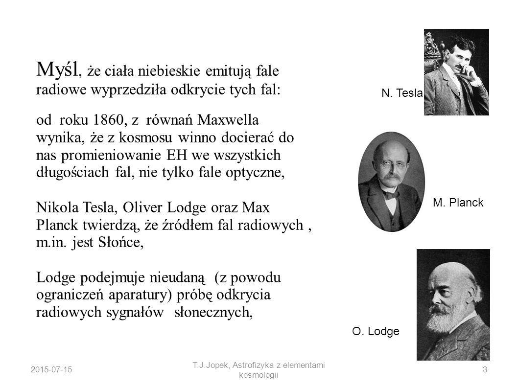 2015-07-15 T.J.Jopek, Astrofizyka z elementami kosmologii Odkrycie promieniowania radiowego z kosmosu 1930-31 Karol Jansky, pracownik Laboratorium Bella po raz pierwszy obserwował fale radiowe emitowane z Drogi Mlecznej.