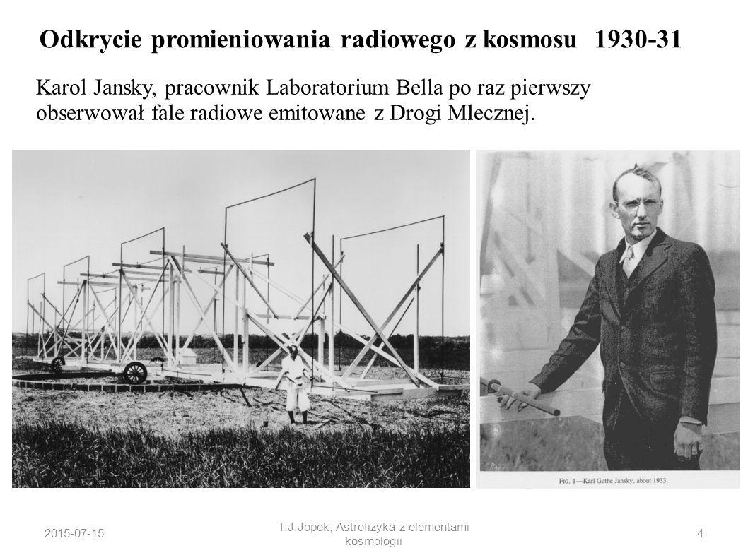 2015-07-15 T.J.Jopek, Astrofizyka z elementami kosmologii Odkrycie promieniowania radiowego z kosmosu 1930-31 Karol Jansky, pracownik Laboratorium Bel