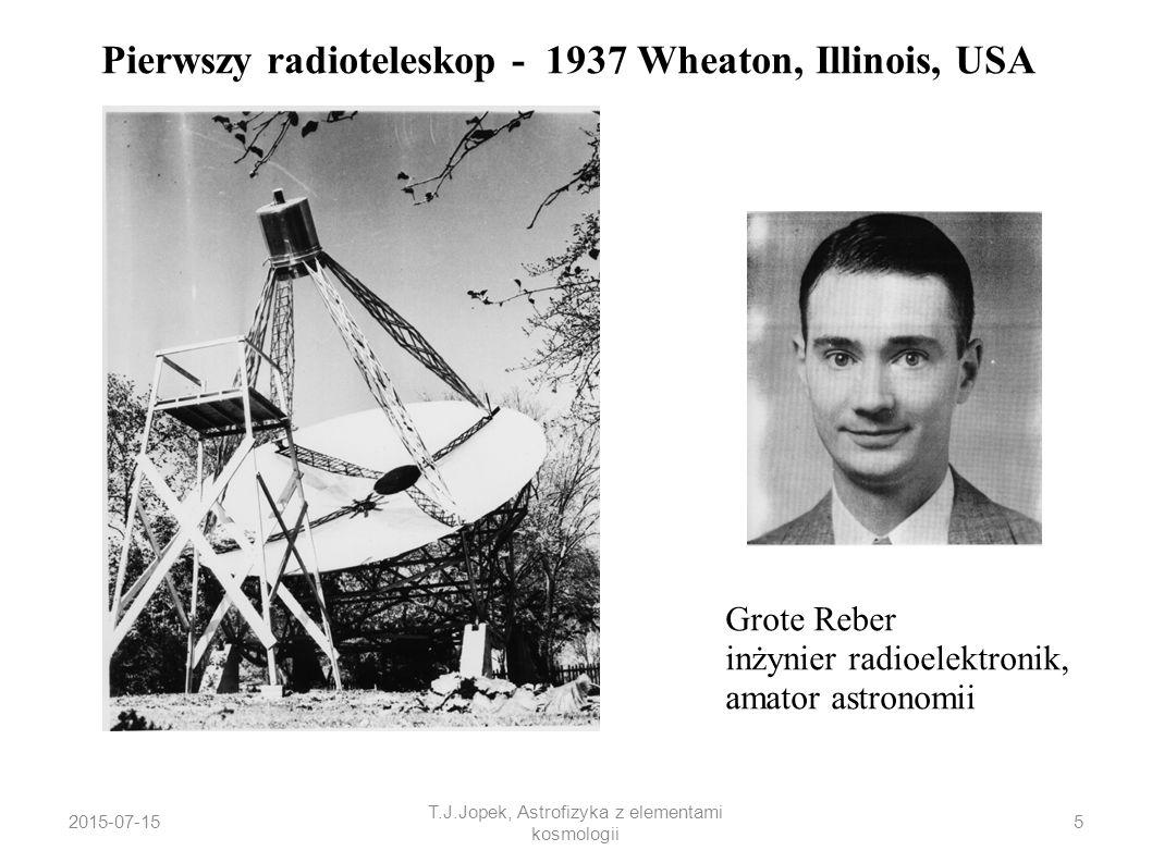2015-07-15 T.J.Jopek, Astrofizyka z elementami kosmologii Pierwszy radioteleskop - 1937 Wheaton, Illinois, USA Grote Reber inżynier radioelektronik, a