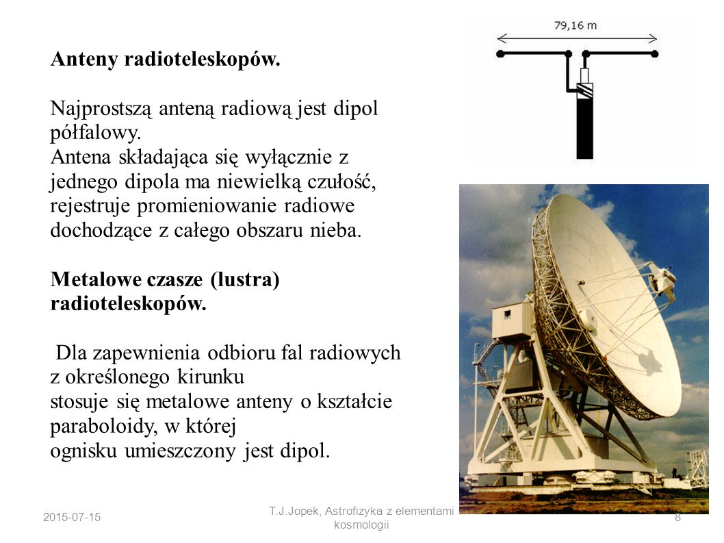 Anteny radioteleskopów. Najprostszą anteną radiową jest dipol półfalowy. Antena składająca się wyłącznie z jednego dipola ma niewielką czułość, rejest