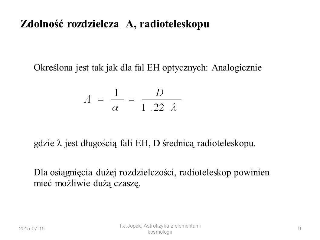 Określona jest tak jak dla fal EH optycznych: Analogicznie gdzie jest długością fali EH, D średnicą radioteleskopu. Zdolność rozdzielcza A, radioteles