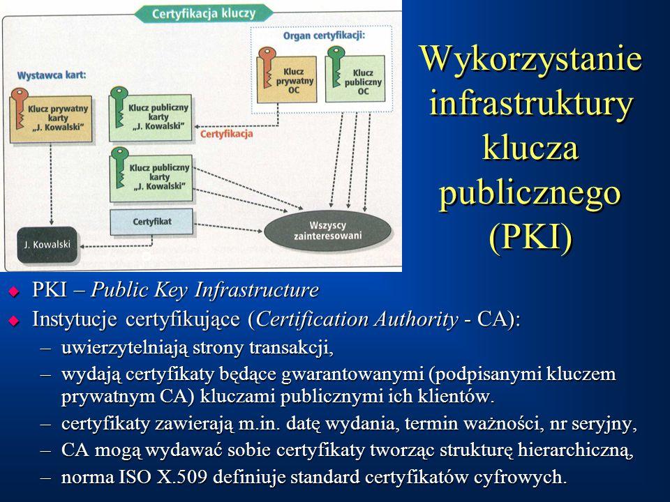 Wykorzystanie infrastruktury klucza publicznego (PKI)  PKI – Public Key Infrastructure  Instytucje certyfikujące (Certification Authority - CA): –uwierzytelniają strony transakcji, –wydają certyfikaty będące gwarantowanymi (podpisanymi kluczem prywatnym CA) kluczami publicznymi ich klientów.