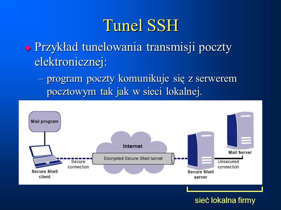 Tunel SSH  Przykład tunelowania transmisji poczty elektronicznej: –program poczty komunikuje się z serwerem pocztowym tak jak w sieci lokalnej.  Prz