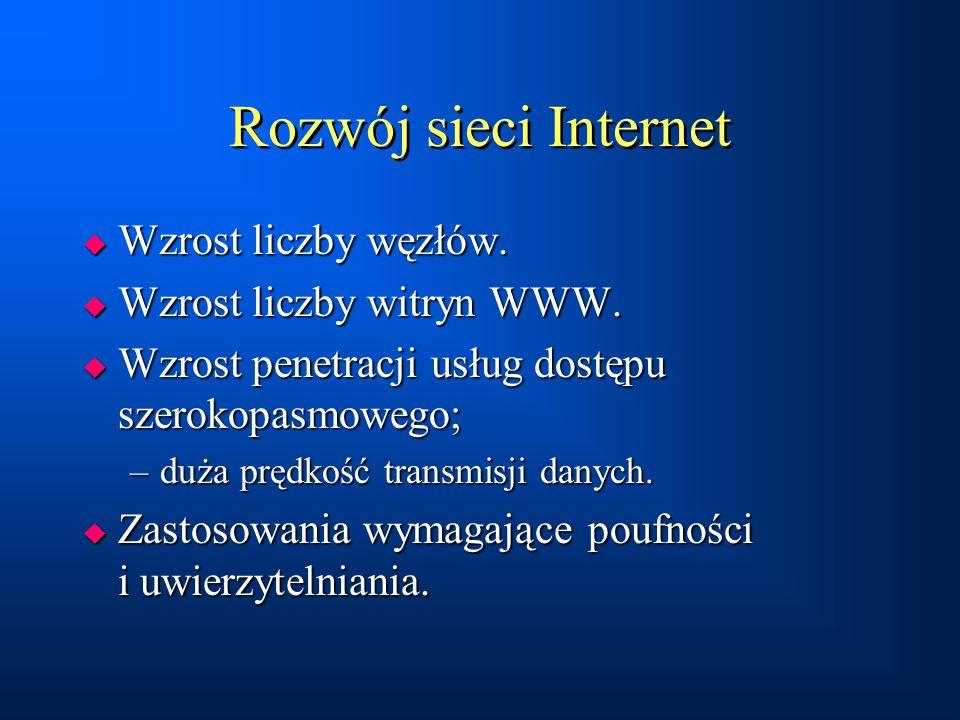 Rozwój sieci Internet  Wzrost liczby węzłów.  Wzrost liczby witryn WWW.  Wzrost penetracji usług dostępu szerokopasmowego; –duża prędkość transmisj