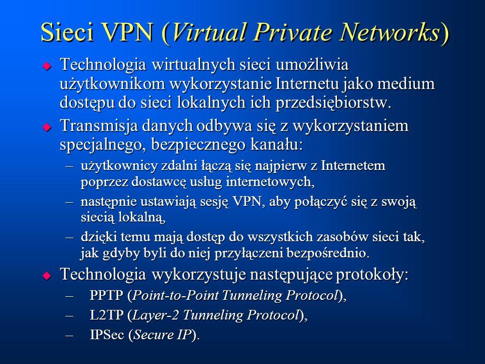Sieci VPN (Virtual Private Networks)  Technologia wirtualnych sieci umożliwia użytkownikom wykorzystanie Internetu jako medium dostępu do sieci lokal