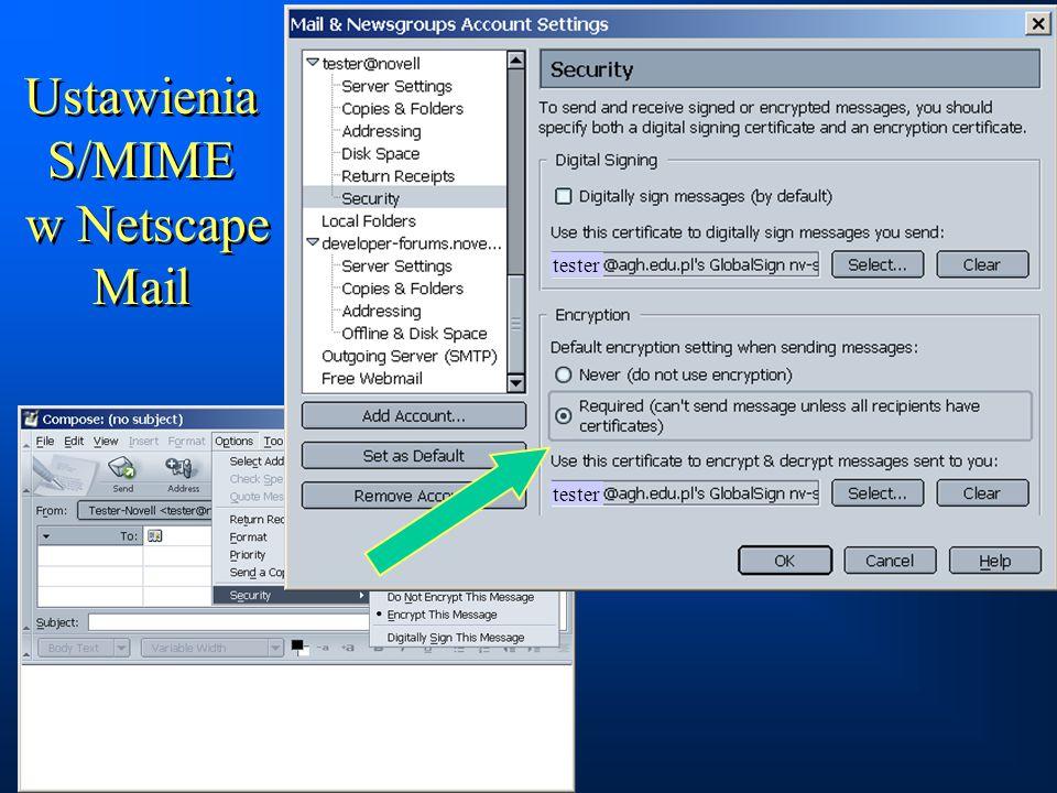 Ustawienia S/MIME w Netscape Mail tester