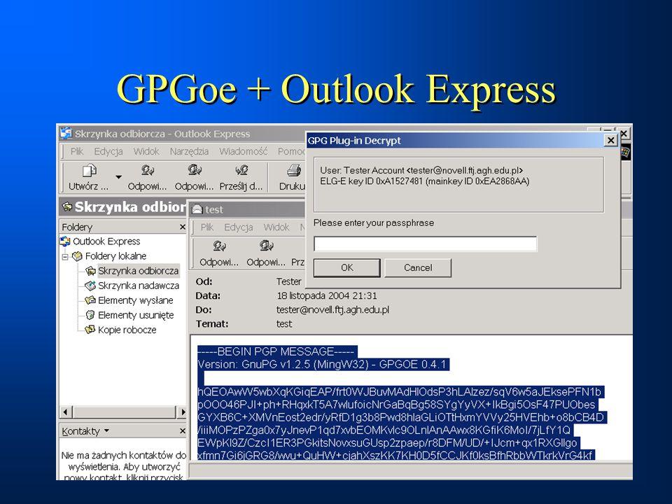 GPGoe + Outlook Express
