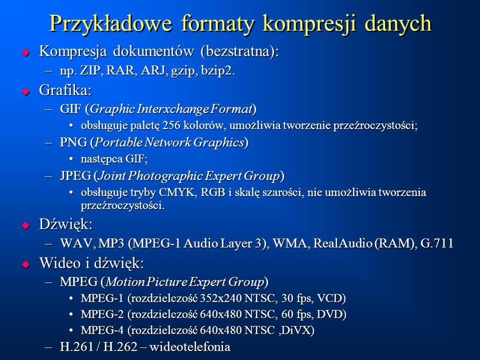 Przykładowe formaty kompresji danych  Kompresja dokumentów (bezstratna): –np. ZIP, RAR, ARJ, gzip, bzip2.  Grafika: –GIF (Graphic Interxchange Forma