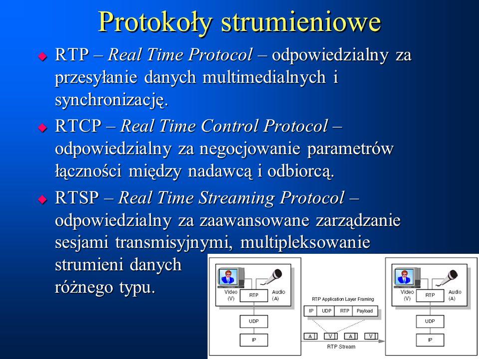 Protokoły strumieniowe  RTP – Real Time Protocol – odpowiedzialny za przesyłanie danych multimedialnych i synchronizację.  RTCP – Real Time Control