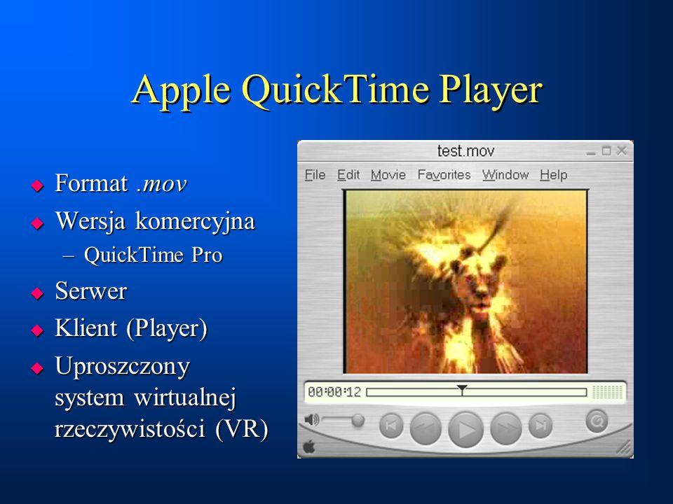 Apple QuickTime Player  Format.mov  Wersja komercyjna –QuickTime Pro  Serwer  Klient (Player)  Uproszczony system wirtualnej rzeczywistości (VR)