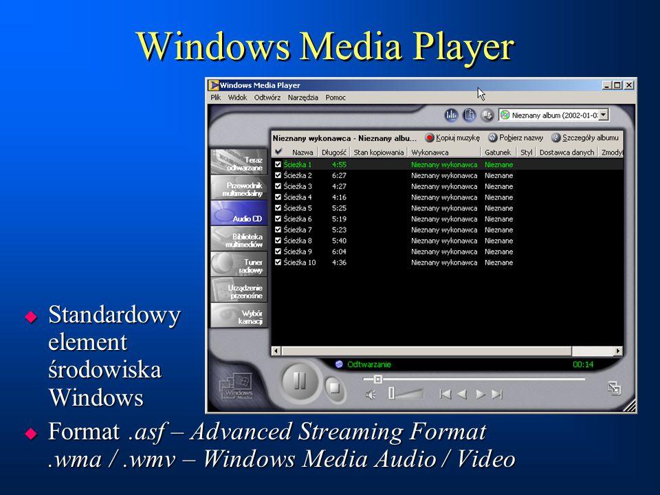 Windows Media Player  Standardowy element środowiska Windows  Format.asf – Advanced Streaming Format.wma /.wmv – Windows Media Audio / Video  Stand