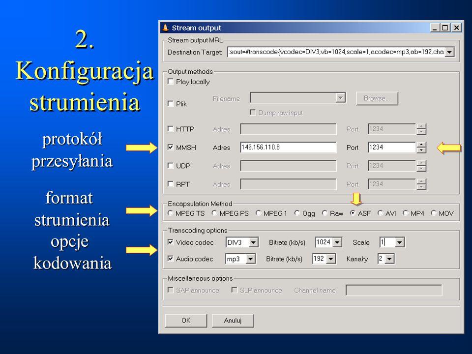 2. Konfiguracja strumienia opcje kodowania format strumienia protokół przesyłania