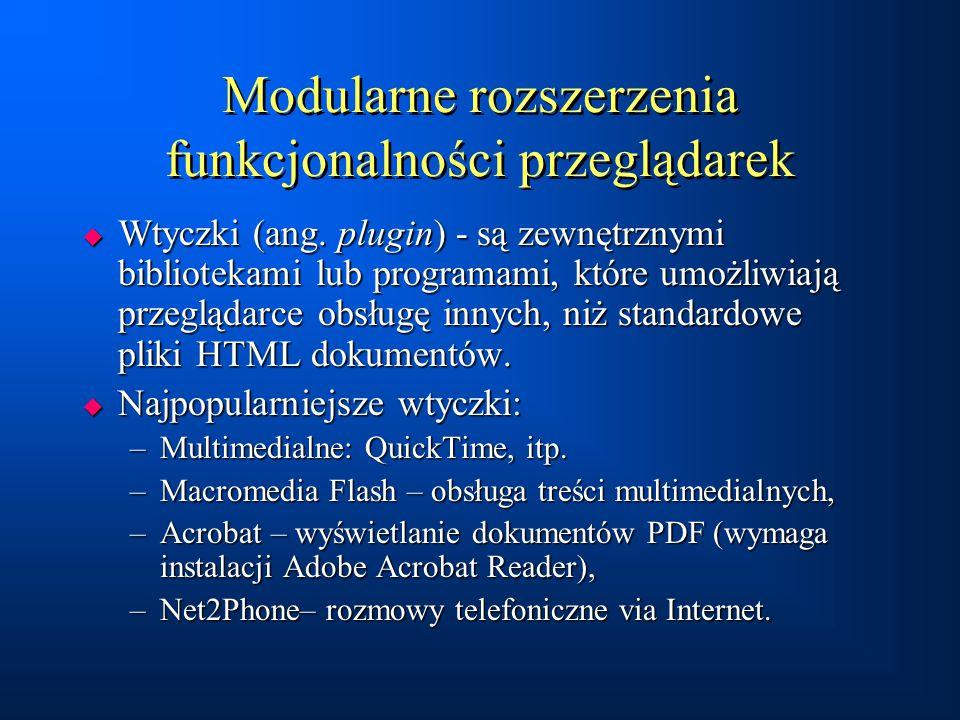 Modularne rozszerzenia funkcjonalności przeglądarek  Wtyczki (ang. plugin) - są zewnętrznymi bibliotekami lub programami, które umożliwiają przegląda