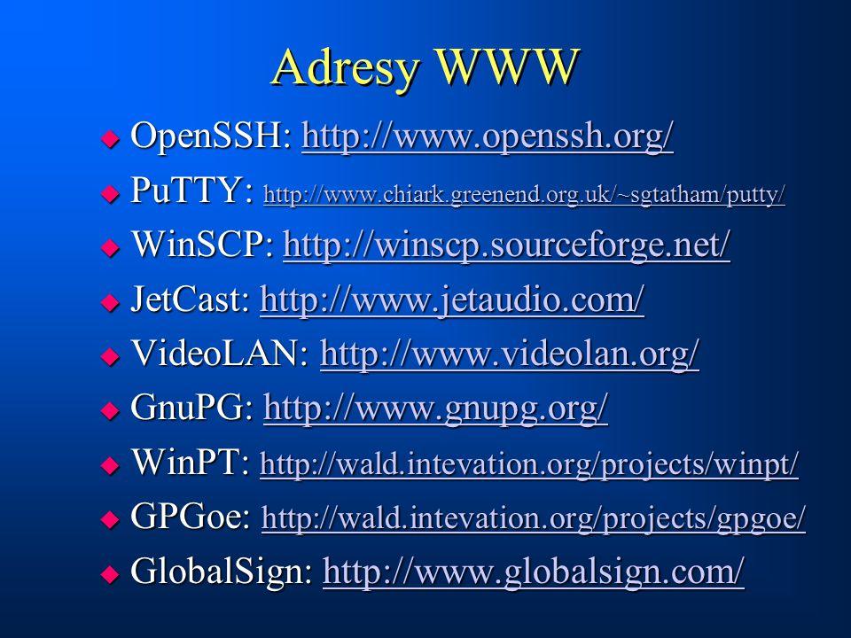 Adresy WWW  OpenSSH: http://www.openssh.org/ http://www.openssh.org/  PuTTY: http://www.chiark.greenend.org.uk/~sgtatham/putty/ http://www.chiark.gr
