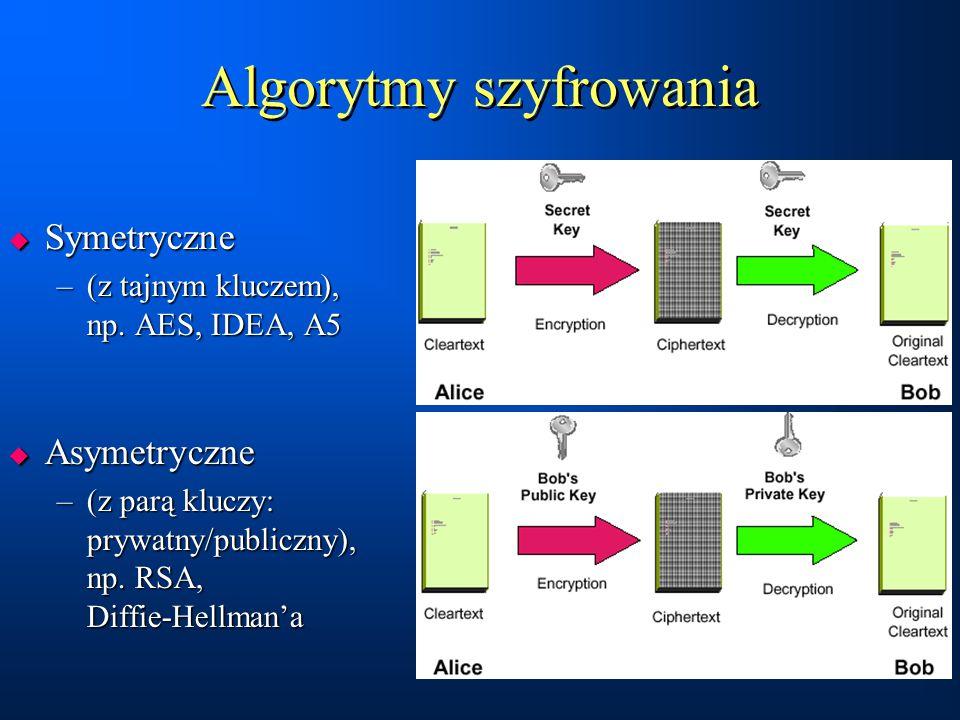 Algorytmy szyfrowania  Symetryczne –(z tajnym kluczem), np. AES, IDEA, A5  Asymetryczne –(z parą kluczy: prywatny/publiczny), np. RSA, Diffie-Hellma