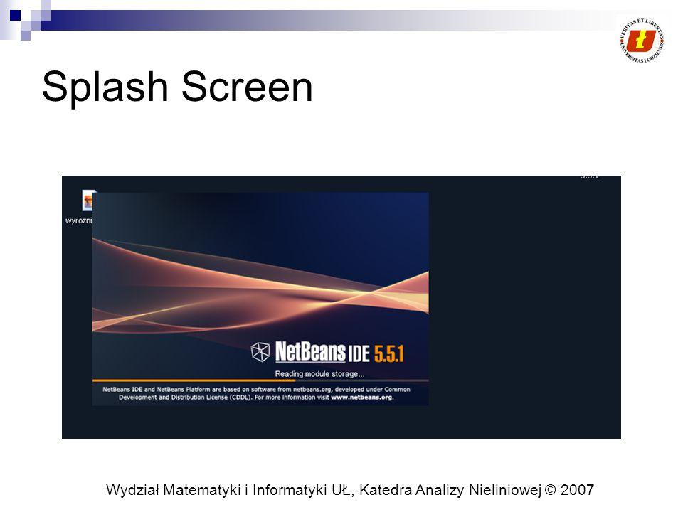 Wydział Matematyki i Informatyki UŁ, Katedra Analizy Nieliniowej © 2007 Splash Screen