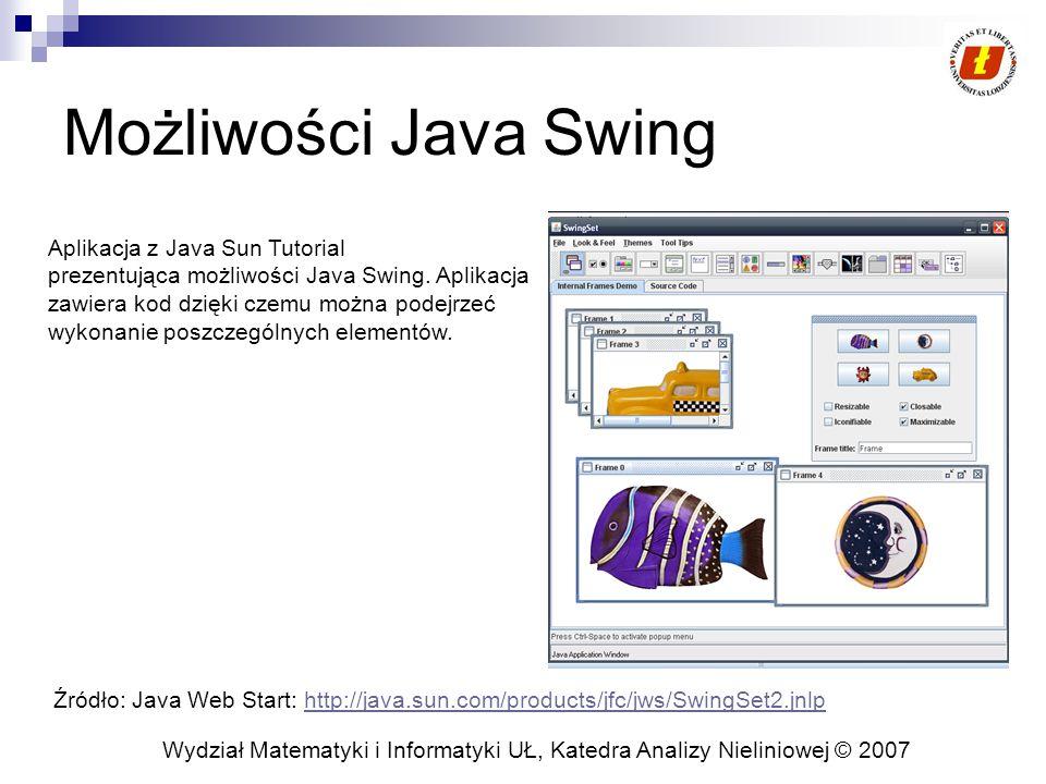 Wydział Matematyki i Informatyki UŁ, Katedra Analizy Nieliniowej © 2007 Look and Feel Możliwość definiowania wyglądu i zachowania aplikacji niezależnie od platformy Użycie l'n'f pozwala skupić się programiście na logice aplikacji oferując zbiór różnych wyglądów Swing pozwala na stosowanie l'n'f dzięki podzieleniu JComponent na dwie cześci:  podklasa JComponent  i powiązana klasa ComponentUI.
