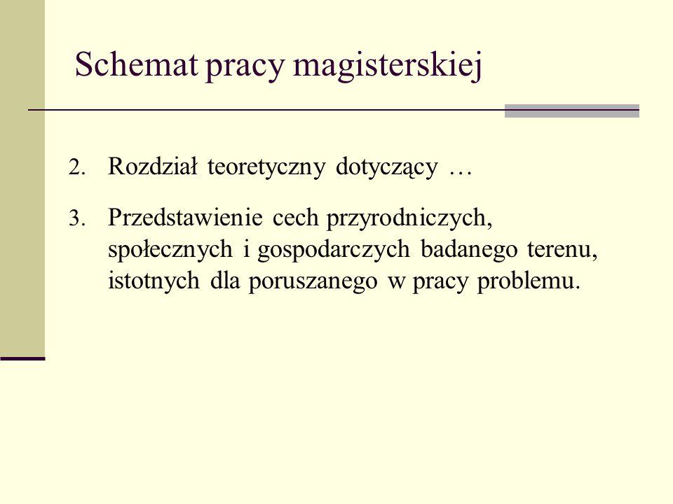 Schemat pracy magisterskiej 2. Rozdział teoretyczny dotyczący … 3. Przedstawienie cech przyrodniczych, społecznych i gospodarczych badanego terenu, is