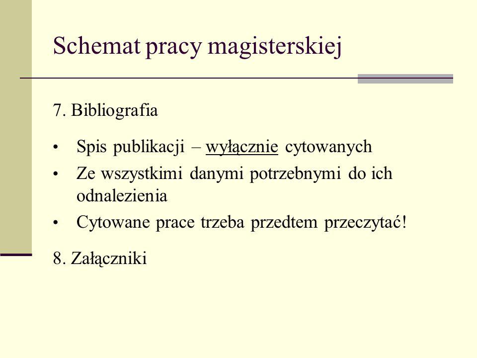 Schemat pracy magisterskiej 7. Bibliografia Spis publikacji – wyłącznie cytowanych Ze wszystkimi danymi potrzebnymi do ich odnalezienia Cytowane prace