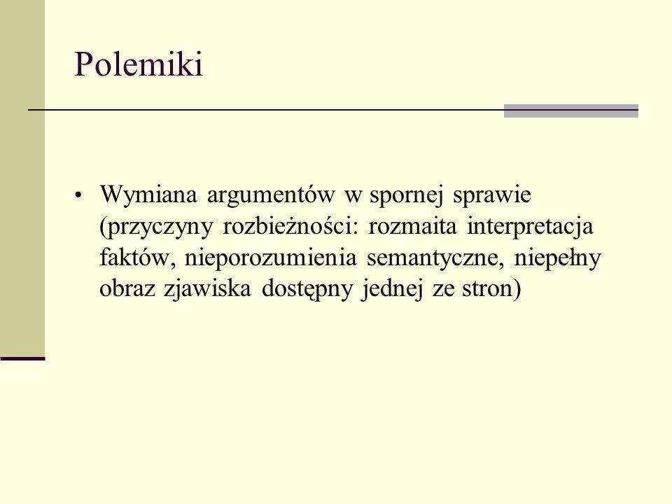 Polemiki Wymiana argumentów w spornej sprawie (przyczyny rozbieżności: rozmaita interpretacja faktów, nieporozumienia semantyczne, niepełny obraz zjaw