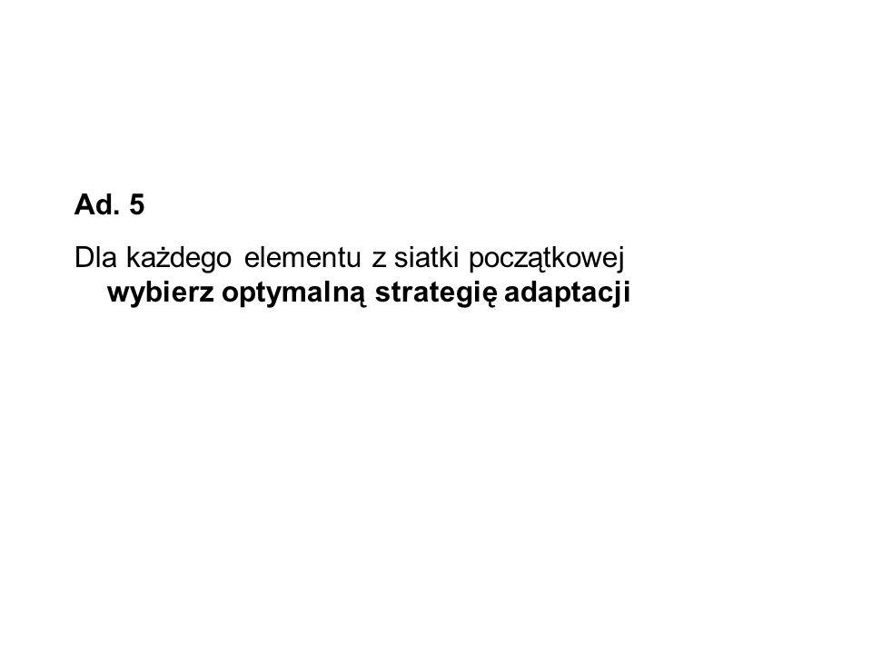 Ad. 5 Dla każdego elementu z siatki początkowej wybierz optymalną strategię adaptacji