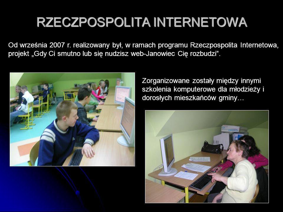 """29 RZECZPOSPOLITA INTERNETOWA Od września 2007 r. realizowany był, w ramach programu Rzeczpospolita Internetowa, projekt """"Gdy Ci smutno lub się nudzis"""