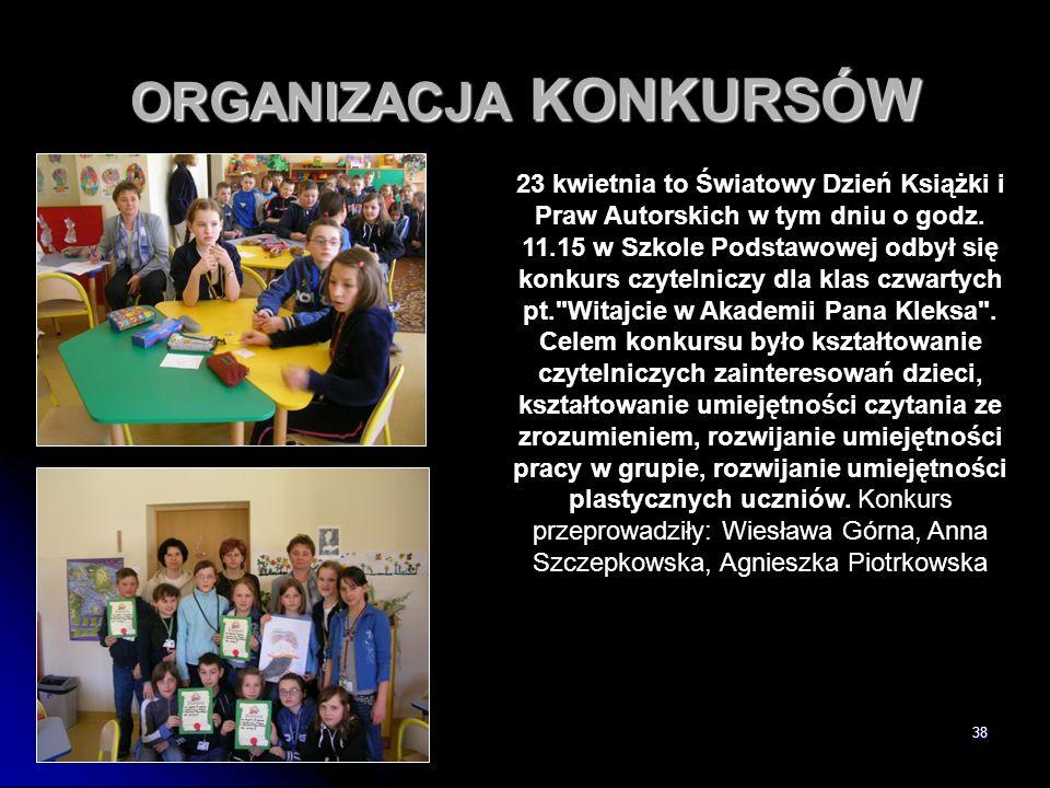 38 ORGANIZACJA KONKURSÓW 23 kwietnia to Światowy Dzień Książki i Praw Autorskich w tym dniu o godz. 11.15 w Szkole Podstawowej odbył się konkurs czyte