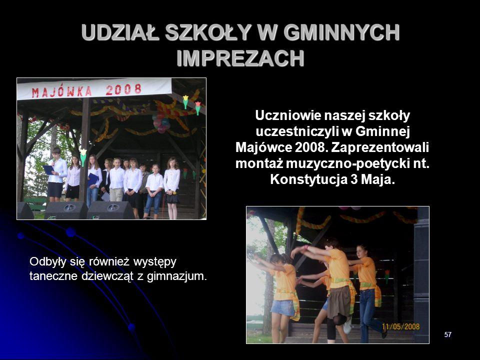57 UDZIAŁ SZKOŁY W GMINNYCH IMPREZACH Uczniowie naszej szkoły uczestniczyli w Gminnej Majówce 2008. Zaprezentowali montaż muzyczno-poetycki nt. Konsty