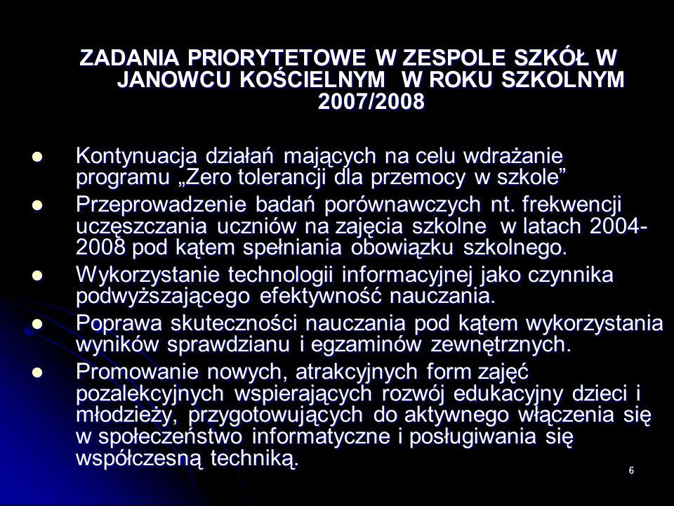 """6 ZADANIA PRIORYTETOWE W ZESPOLE SZKÓŁ W JANOWCU KOŚCIELNYM W ROKU SZKOLNYM 2007/2008 Kontynuacja działań mających na celu wdrażanie programu """"Zero to"""