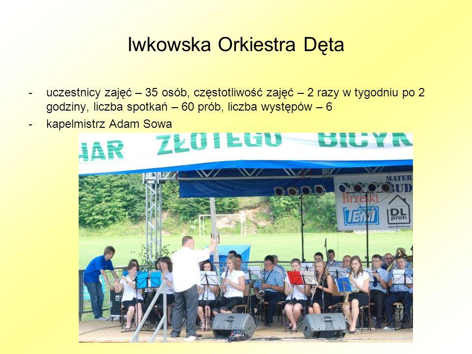 Iwkowska Orkiestra Dęta -uczestnicy zajęć – 35 osób, częstotliwość zajęć – 2 razy w tygodniu po 2 godziny, liczba spotkań – 60 prób, liczba występów – 6 -kapelmistrz Adam Sowa