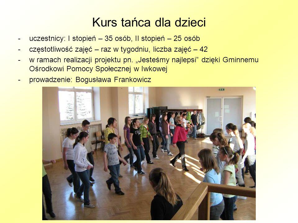 Kurs tańca dla dzieci -uczestnicy: I stopień – 35 osób, II stopień – 25 osób -częstotliwość zajęć – raz w tygodniu, liczba zajęć – 42 -w ramach realizacji projektu pn.