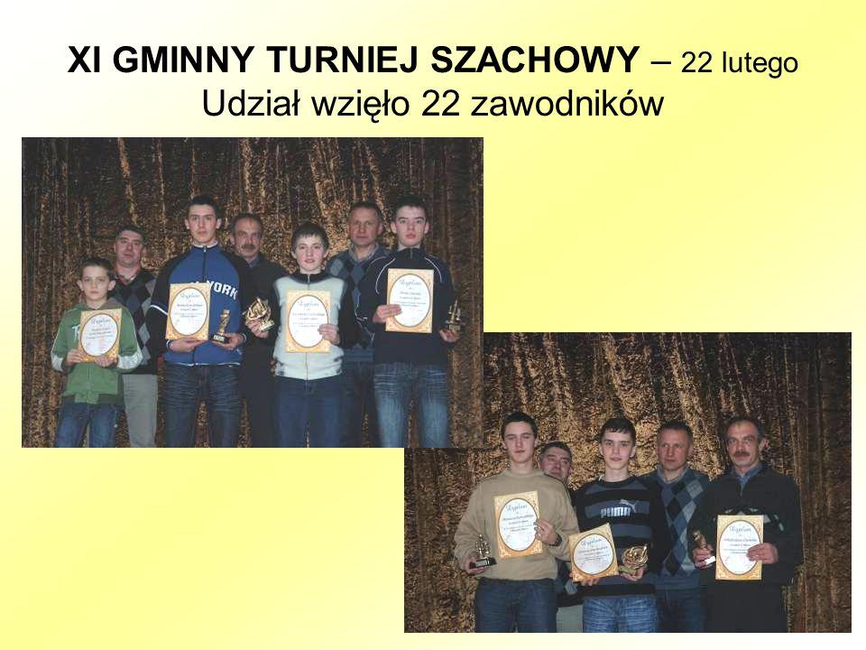 XI GMINNY TURNIEJ SZACHOWY – 22 lutego Udział wzięło 22 zawodników