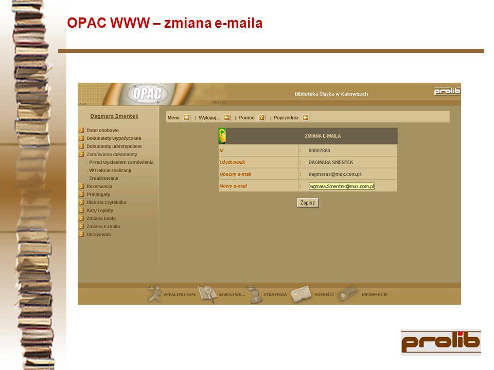 OPAC WWW – zmiana e-maila