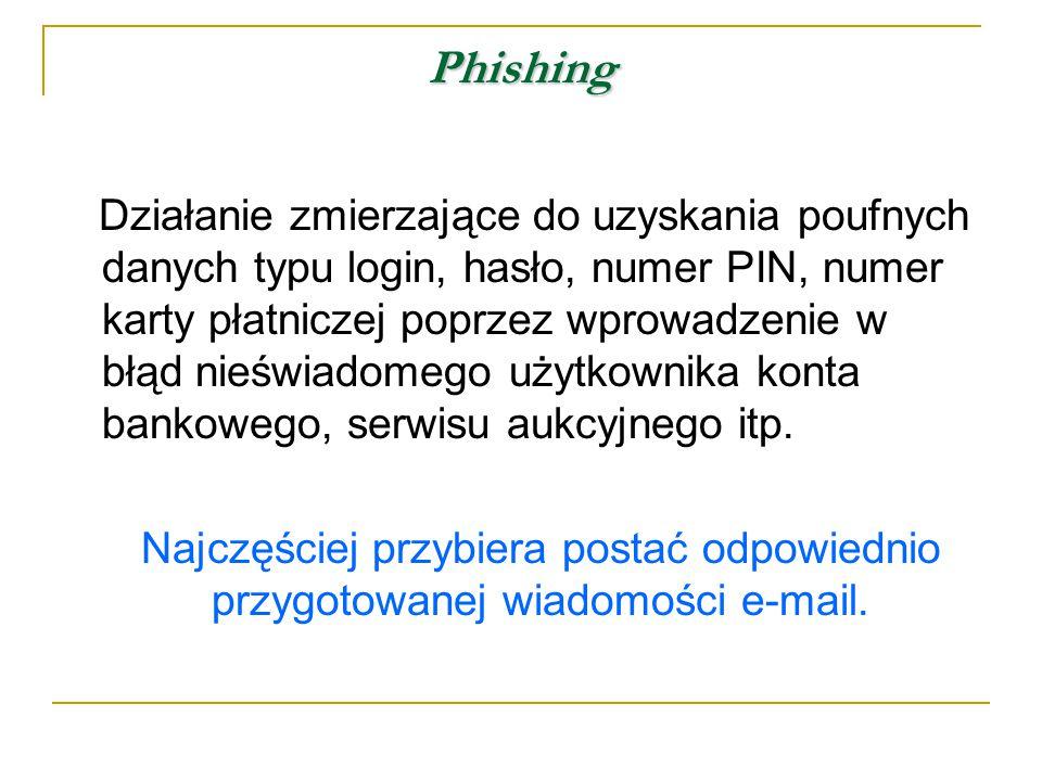 Phishing Działanie zmierzające do uzyskania poufnych danych typu login, hasło, numer PIN, numer karty płatniczej poprzez wprowadzenie w błąd nieświadomego użytkownika konta bankowego, serwisu aukcyjnego itp.