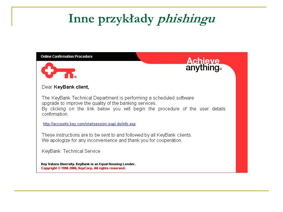 Inne przykłady phishingu